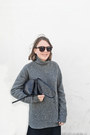 Black-stella-mccartney-shoes-heather-gray-balenciaga-sweater-navy-celine-bag