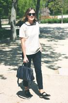 beige MHL Margaret Howell top - navy Louis Vuitton bag