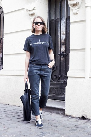 black Celine bag - dark gray acne jeans - black ray-ban sunglasses