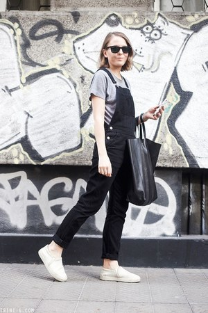 black Celine bag - black ray-ban sunglasses - black Topshop romper