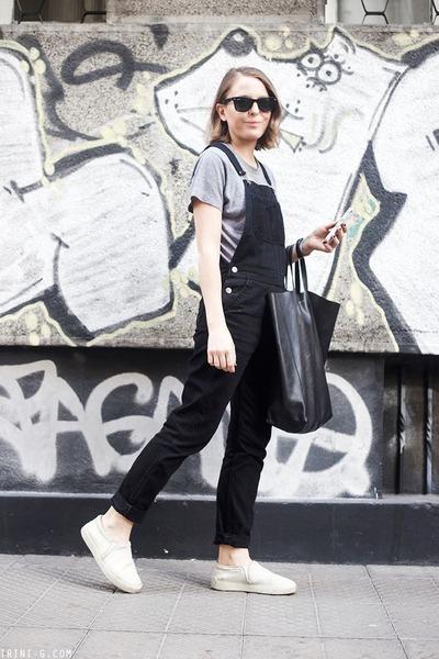black Celine bag - black ray-ban sunglasses - black Topshop romper