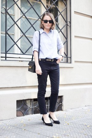 black Saint Laurent bag - dark gray Isabel Marant jeans - light blue Gap shirt