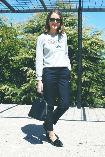 black Louis Vuitton bag - black ray-ban sunglasses - silver APC sweatshirt