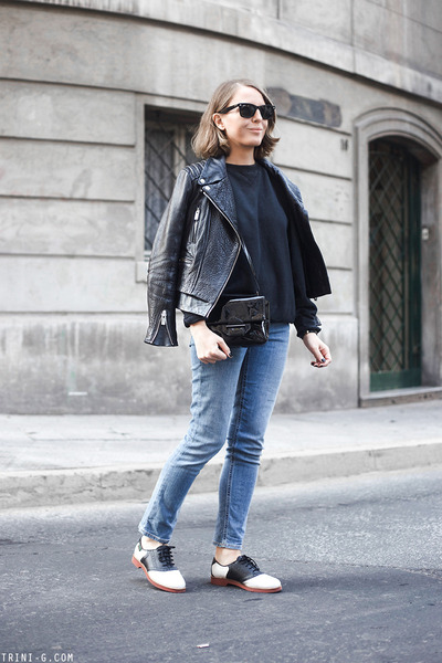 black GH bass shoes - sky blue Gap jeans - black The Kooples jacket