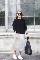 silver Bruuns Bazaar skirt - black The Kooples sweater - black Celine bag