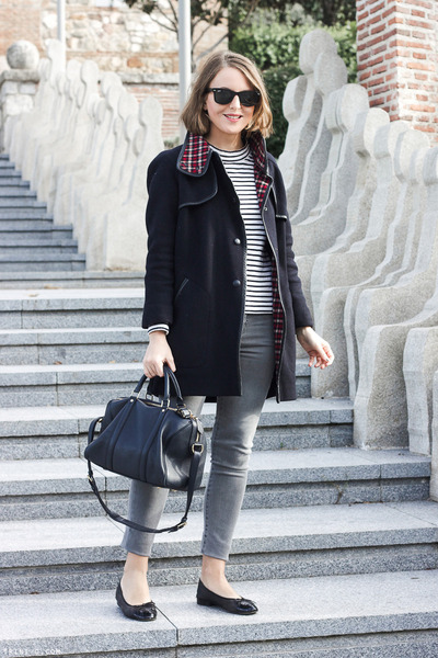 navy SANDRO coat - heather gray The Kooples jeans - navy Louis Vuitton bag