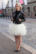 white tulle skirt - black leather jacket - pointed toe pumps