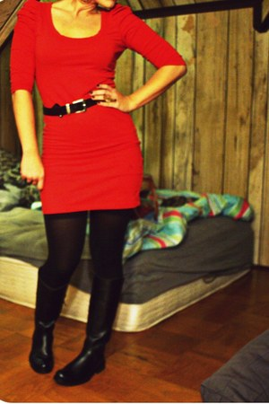 red H&M dress - black leather Nordstrom boots - black stockings