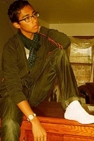 H&M scarf - Gap t-shirt - H&M sweater - Cheap Monday jeans - Aldo shoes