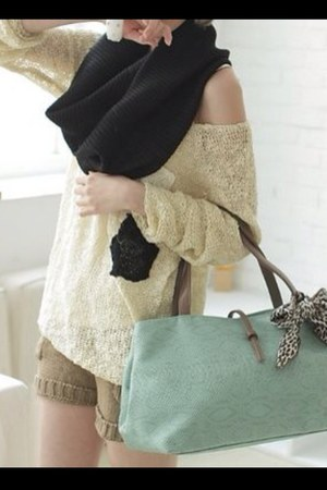 black oversized scarf - ivory knitted sweater - camel knitted shorts