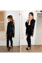 black vintage sweater - blue J Brand jeans - black Jessica Simpson shoes
