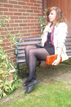 charity shop coat - vintage scarf - American Apparel dress - QS boots - vintage
