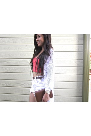 white high waisted Charlotte Russe shorts - white knitted Gilly Hicks cardigan