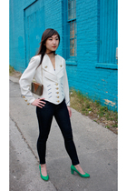 white vintage jacket - blue from ModCloth jeans - gold vintage purse - green Non