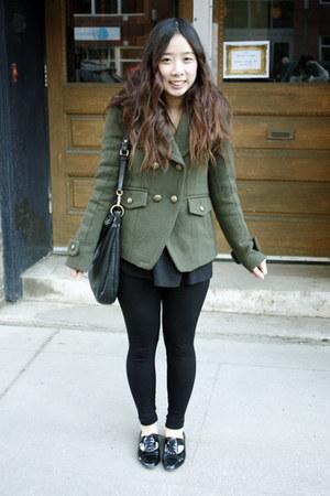 army green American Eagle coat - black Aldo shoes - black Talula leggings