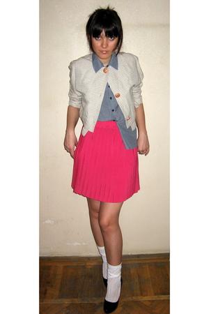 pink vintage skirt - black pumps afrodita shoes - beige vintage Toff Togs blazer
