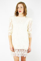 vintage 80s cream SHEER SCALLOPED LACE CROCHET WEDDING mini dress S/M
