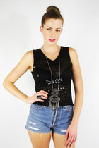 vintage 90s grunge boho black SEQUIN sheer CROCHET knit tank top S