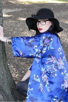 black floppy hat - blue Trashy Vintage jacket - black kohls tights - silver mixe