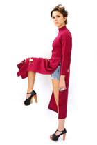 black foxy heels - maroon kimono maxi Trashy Vintage dress