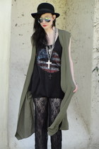 black bowler vintage hat - black Forever 21 top - black lace pants - olive green
