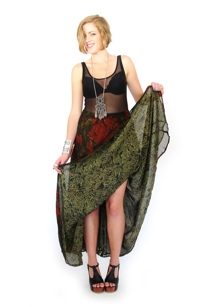 olive green reversible maxi Trashy Vintage skirt