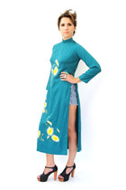 black foxy heels - turquoise blue kimono maxi Trashy Vintage dress