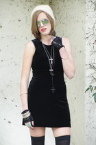 black Trashy Vintage dress - cream beanie vintage hat - black over the knee stoc