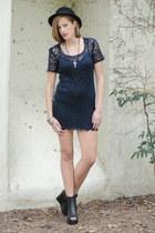 black peep toe wedge boots - navy Trashy Vintage dress - black bowler vintage ha