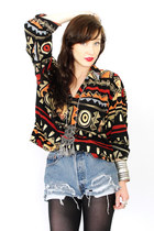 black tribal Trashy Vintage shirt - black opaque kohls tights