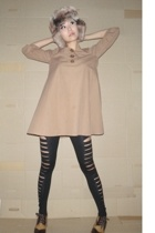 hat - Topshop dress - leggings - shoes