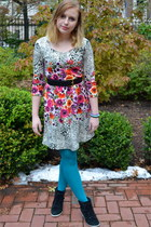 hot pink Target dress - turquoise blue HUE tights - black Steve Madden wedges