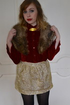 gold H&M skirt - black Steve Madden shoes - light brown vintage scarf