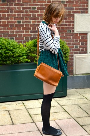 forest green H&M dress - black Steve Madden shoes - heather gray H&M sweater