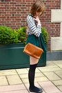 Black-steve-madden-shoes-forest-green-h-m-dress-heather-gray-h-m-sweater