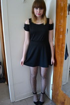black rolla coaster dress - brown Betsey Johnson tights - black asos heels
