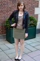 black H&M jacket - light brown Kenar top - army green H&M skirt