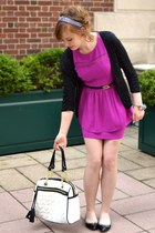 black cmendel shoes - magenta H&M dress - white Betsey Johnson bag