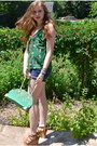 Green-mms-bag-navy-thrifted-shorts-green-forever-21-top