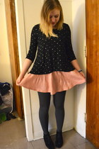 black kensie top - black Steve Madden boots - light pink b jewel skirt