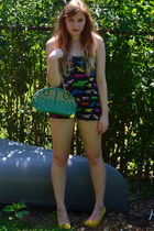 black H&M romper - green MMS bag - yellow Forever 21 heels