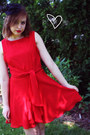 Red-thrifted-dress-black-prabal-gurung-for-target-heels