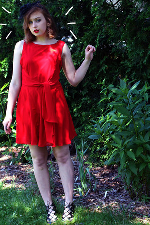 red thrifted dress - black Prabal Gurung for Target heels