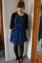 navy XXI dress - black XXI cardigan - brick red XXI loafers