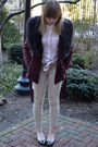 Maroon-h-m-jacket-black-c-mendel-shoes-white-h-m-top-beige-h-m-pants