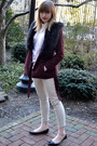Black-c-mendel-shoes-maroon-h-m-jacket-white-h-m-top-beige-h-m-pants