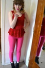 Black-forever-21-boots-hot-pink-mine-pants-ruby-red-say-what-top