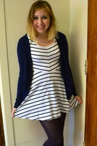 white H&M dress - deep purple Chinese Laundry tights - navy Forever 21 cardigan
