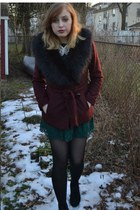 crimson H&M coat - black Steve Madden shoes - dark green H&M dress