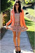 neutral selena dress - orange pop blazer